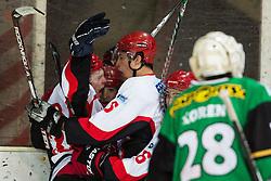 Players of Jesenice celebrate after scoring a goal during Erste Bank Young Stars League ice hockey match between HD Jesenice Mladi and HK Olimpija, on November 4, 2012 in Ledena dvorana Bled, Bled, Slovenia. (Photo by Matic Klansek Velej / Sportida.com)