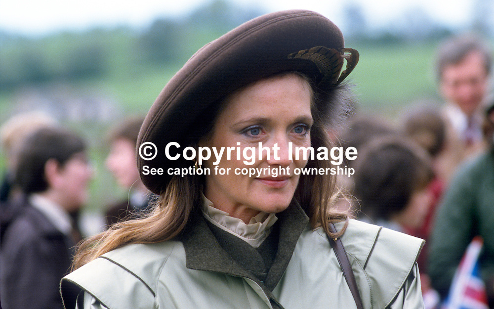 Leonora Anson, Countess of Lichfield,  neé Grosvenor, wife of society photographer, Lord Lichfield, at a Riding for the Disabled event in Co Fermanagh attended by the Princess Royal, Princess Anne, during a royal visit to N Ireland, May 1985. The countess was lady in waiting to Princess Anne during her N Ireland visit. 19850503LL3.Copyright Image from Victor Patterson, 54 Dorchester Park, Belfast, UK, BT9 6RJ..Tel: +44 28 9066 1296.Mob: +44 7802 353836.Voicemail +44 20 8816 7153.Skype: victorpattersonbelfast.Email: victorpatterson@me.com.Email: victorpatterson@ireland.com (back-up)..IMPORTANT: If you wish to use this image or any other of my images please go to www.victorpatterson.com and click on the Terms & Conditions. Then contact me by email or phone with the reference number(s) of the image(s) concerned.