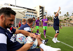 Bristol City head coach Lee Johnson signals to make a substitution - Mandatory by-line: Matt McNulty/JMP - 22/07/2017 - FOOTBALL - Tenerife Top Training - Costa Adeje, Tenerife - Bristol City v Atletico Union Guimar  - Pre-Season Friendly