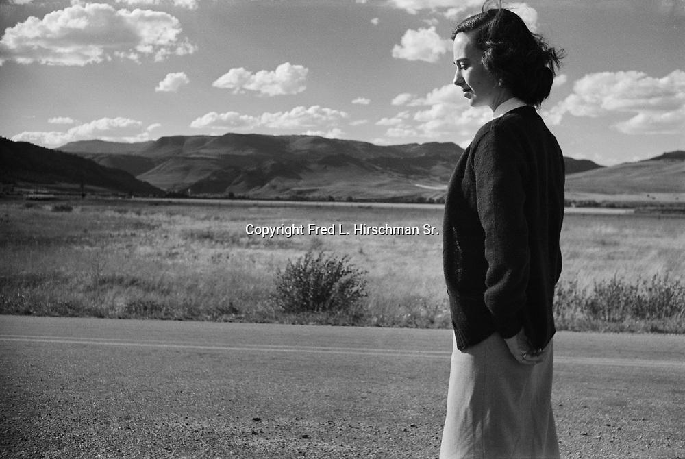 Octavia Hirschman walking highway in Colorado.