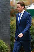 Austrian chancellor Sebastian Kurz arriving at 10 Downing Street to meet with Prime Minister Boris Johnson on Tuesday, Feb. 25, 2020. (Photo/Vudi Xhymshiti)
