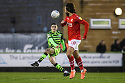 Forest Green Rovers Liam Kitching(20) passes the ball forward during the EFL Sky Bet League 2 match between Forest Green Rovers and Swindon Town at the New Lawn, Forest Green, United Kingdom on 21 December 2019.