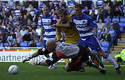 Reading, England, Nationwide Division One Football Reading v Preston North End, Reading keeper Marcus Hahnemann  make the save as Reading's Steve Sidwell holds off Richards Cresswell,  at the Madejski Stadium, on 18/10/2003 [Credit  Peter Spurrier/Intersport Images]..