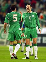 Fotball<br /> VM-kvalifisering<br /> 09.10.2004<br /> Foto: BPI/Digitalsport<br /> NORWAY ONLY<br /> <br /> Frankrike v Irland 0-0<br /> <br /> A happy John O'Shea after the 0-0 draw