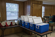 DURANT, OKLAHOMA - MARCH 24:  Coolers are prepped to deliver food to senior citizens around the community at the Bryan County Retired Senior Volunteer Program in Durant, Oklahoma on March 24, 2017. (Photo by Cooper Neill for The Washington Post)