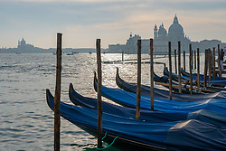 A row of gondolas in the foreground and the church of Santa Maria della Salute, commonly known simply as the Salute, in the background, in Venice. From a series of travel photos in Italy. Photo date: Monday, February 11, 2019. Photo credit should read: Richard Gray/EMPICS