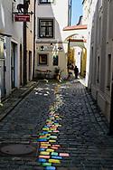 Colored stones on road. Passau Germany