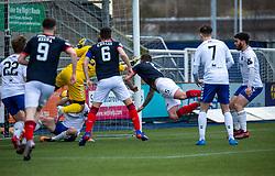 20MAR21 Falkirk's Mark Durnan (5) scoring their first half goal. half time : Falkirk 1 v 0 Montrose, Scottish Football League Division One game played 20/3/2021 at The Falkirk Stadium.