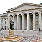 North entrance of the US Department of the Treasury, Washington DC. Statue of Albert Gallatin, Secretary of the Treasury during the administration of Thomas Jefferson..Abraham Alfonse Albert Gallatin (January 29, 1761 - August 12, 1849) was a Swiss-American ethnologist, linguist, politician, diplomat, Congressman, and the longest-serving United States Secretary of the Treasury. He was also a founder of New York University.