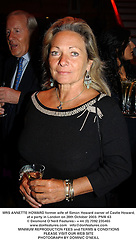 MRS ANNETTE HOWARD former wife of Simon Howard owner of Castle Howard,  at a party in London on 28th October 2003.PNW 63