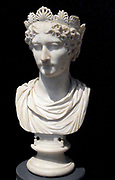 Bust of a Roman Empress possibly a likeness of Agrippina the Younger Circa AD 40-55. Julia Agrippina, referred to as Agrippina Minor or Agrippina the Younger or Agrippinilla 19/23 - 59 AD. Roman Empress and one of the more prominent women in the Julio-Claudian dynasty. She was a great-granddaughter of the Emperor Augustus, great-niece and adoptive granddaughter of the Emperor Tiberius, sister of the Emperor Caligula, niece, fourth wife of the Emperor Claudius and mother of the Emperor Nero.