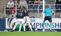 Falkirk's keeper Michael McGovern saves from Dunfermline's Ryan Thomson.<br /> Falkirk 2 v 1 Dunfermline, Scottish League Cup, 27/8/2013, at The Falkirk Stadium.<br /> ©Michael Schofield.