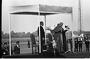 Pope John-Paul II visits Ireland..1979..29.09.1979..09.29.1979..29th September 1979..Today marked the historic arrival of Pope John-Paul II to Ireland. He is here on a three day visit to the country with a packed itinerary. He will celebrate mass today at a specially built altar in the Phoenix Park in Dublin. From Dublin he will travel to Drogheda by cavalcade. On the 30th he will host a youth rally in Galway and on the 1st Oct he will host a mass in Limerick prior to his departure from Shannon Airport to the U.S..Image of Pope John-Paul II as he makes first speech in Ireland to the assembled audience on the tarmac at Dublin Airport.