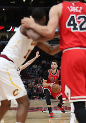 January 27, 2019 - Chicago, IL, USA - Chicago Bulls guard Zach LaVine (8) lines up a three-point shot in the final seconds on Sunday, Jan. 27, 2019 at the United Center in Chicago, Ill. The Cavaliers defeated the Bulls, 104-101. (Credit Image: © Brian Cassella/Chicago Tribune/TNS via ZUMA Wire)
