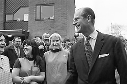File photo dated 08/02/73 of Prince Philip laughing as he shared a joke with female cleaners during his visit to Salford University. The Duke of Edinburgh was perhaps best known for his gaffes. He shocked and sometimes delighted the public with his outspoken remarks and clangers. Issue date: Friday April 4, 2021.