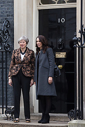 London, UK. 21st January, 2019. The Prime Minister of New Zealand Jacinda Ardern arrives at 10 Downing Street for a meeting with Prime Minister Theresa May.