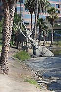 LaBrea Tar Pits in Los Angeles , California, with wooly mammoth replica stuck in Tar in front of the The Page Museum . The Page Museum is a natural history museum that houses specimens recovered from the LaBrea tar Pits.