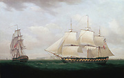 Two East Indiamen off a Coast'.  At this time the East India Company still governed India. Thomas Whitcombe (c1850) British painter. Oil on canvas.