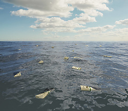 Jan. 13, 2015 - Large group of one hundred dollar bill stacks floating on surface of sea (Credit Image: © Image Source/Image Source/ZUMAPRESS.com)
