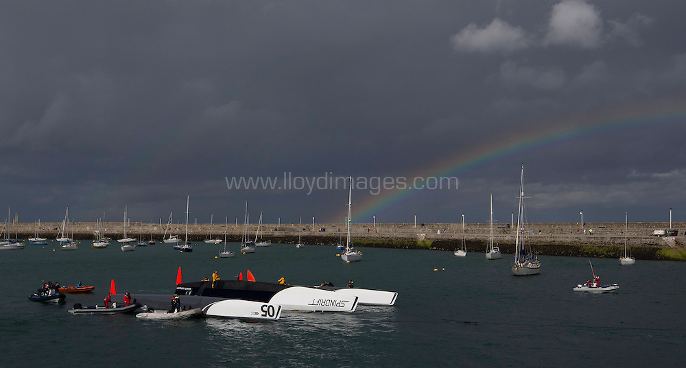 La Route des Princess. Dun Laoghaire.Dublin.<br /> Pictures of the of the Spindrift MOD70 being towed in after capsizing during todays In-Port Race<br /> Credit: Lloyd Images