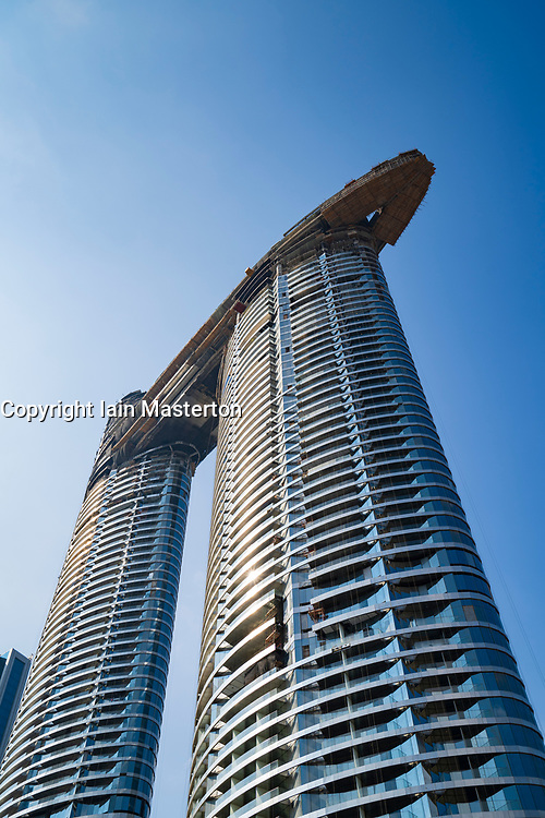 The Address Sky View high rise luxury apartment towers under construction in downtown Dubai, United Arab Emirates