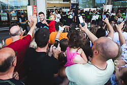 Edo Muric with fans during arrival of Slovenian national team from Tokio 2020 Olympic games, 8. August 2021, Airport Jozeta Pucnika, Ljubljana, Slovenia. Photo by Grega Valancic