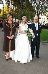 The bride CLEMENTINE HAMBRO wither her parents  RICHARD HAMBRO and the COUNTESS PEEL at the wedding of Clementine Hambro to Orlando Fraser at St.Margarets Westminster Abbey, London on 3rd November 2006.<br /><br />NON EXCLUSIVE - WORLD RIGHTS