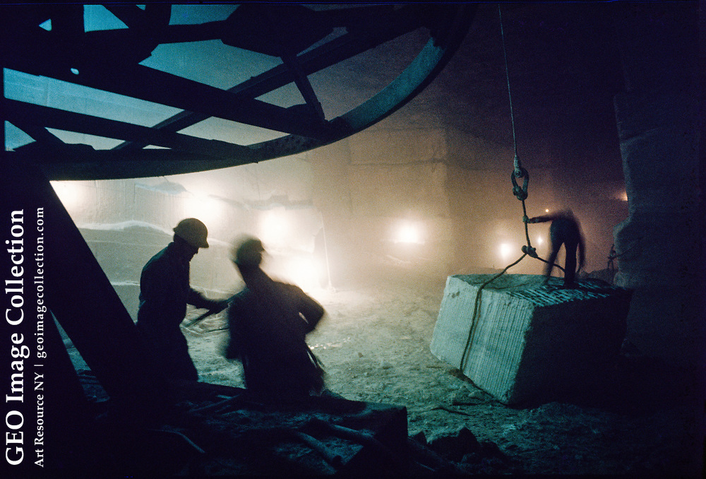 Interior of a marble quarry in Dorset Mountain operated by Vermont Marble Company, now Vermont Quarries. This. Is Vermont Danby Quarry, where Vermont Danby Marble is extracted.