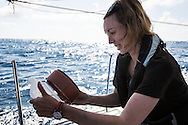 North Atlantic Ocean, September 2014.<br /> Marine biologist Stephanie Wright filters a sample recovered from a trawl through a mesh, on board the Sea Dragon. © Chiara Marina Grioni
