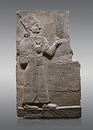 Picture & image of Hittite relief sculpted orthostat stone panel of Long Wall Basalt, Karkamıs, (Kargamıs), Carchemish (Karkemish), 900-700 B.C. Anatolian Civilisations Museum, Ankara, Turkey<br /> <br /> Goddess Kubaba. Goddess is depicted from the profile. She holds a pomegranate in her hands on her chest. She carries a one-horned headdress on her head. Her braided hair hangs down to her shoulder . <br /> <br /> On a gray background. .<br />  <br /> If you prefer to buy from our ALAMY STOCK LIBRARY page at https://www.alamy.com/portfolio/paul-williams-funkystock/hittite-art-antiquities.html  - Type  Karkamıs in LOWER SEARCH WITHIN GALLERY box. Refine search by adding background colour, place, museum etc.<br /> <br /> Visit our HITTITE PHOTO COLLECTIONS for more photos to download or buy as wall art prints https://funkystock.photoshelter.com/gallery-collection/The-Hittites-Art-Artefacts-Antiquities-Historic-Sites-Pictures-Images-of/C0000NUBSMhSc3Oo