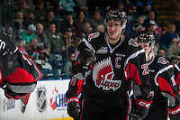 KELOWNA, CANADA - JANUARY 18: Brett Howden #21 of the Moose Jaw Warriors skates to the bench to celebrate a second period goal against the Kelowna Rockets on January 18, 2017 at Prospera Place in Kelowna, British Columbia, Canada.  (Photo by Marissa Baecker/Shoot the Breeze)  *** Local Caption ***