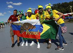 July 2, 2018 - Moscow, Russia - Supporters at Fan Zone - FIFA World Cup Russia 2018.Brazil and Russia supporters at Fifa Fan Zone in Moscow, Russia on July 2, 2018. (Credit Image: © Matteo Ciambelli/NurPhoto via ZUMA Press)