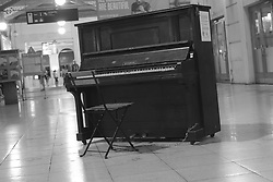 August 17, 2017 - Prague, Czech Republic - A old piano in  Masarykovo nadrazí train station in Prague on August 17, 2017. The oldest of the train stations in Prague, it was founded in 1845. It is located in the center of Prague, Czech Republic. (Credit Image: © Oscar Gonzalez/NurPhoto via ZUMA Press)
