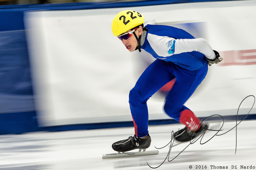 March 20, 2016 - Verona, WI - Henry Middlebrook, skater number 223 competes in US Speedskating Short Track Age Group Nationals and AmCup Final held at the Verona Ice Arena.