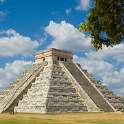 "Tourism has been alive and well in Chichen Itza since its public awareness created by John Lloyd Stephens through his book, but until recently, it has boomed at an accelerated rate. Chichen Itza contains many different structures dedicated to astrology, royalty and many other constant themes in Maya culture with the great pyramid ""El Castillo""(or The Castle) at the center of it. ""El Castillo"" is a 30 meter monument topped off by a temple which houses a Chac Mool sculpture(typical statuaries found all over Mesoamerica), and a red jaguar throne. The great pyramid bears the Maya deities Chac and the serpent god Kukulcan(which the great pyramid has been named after, The Temple of Kukulcan), it is believed that ""El Castillo"" is a bodily manifestation of the Maya calendar and the 365 days of a solar year, with every step representing a single day in a year which add up to 364 steps(91 on each of its four sides) plus one(the topmost base of the pyramid)."