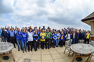 AFC Wimbledon fans at their volunteers day lunch during the EFL Sky Bet League 1 match between Oxford United and AFC Wimbledon at the Kassam Stadium, Oxford, England on 13 April 2019.