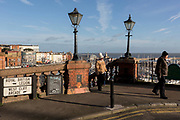 Top of steps on Ramsgate's Royal Parade, on 8th January 2019, in Ramsgate, Kent, England. The Port of Ramsgate has been identified as a 'Brexit Port' by the government of Prime Minister Theresa May, currently negotiating the UK's exit from the EU. Britain's Department of Transport has awarded to an unproven shipping company, Seaborne Freight, to provide run roll-on roll-off ferry services to the road haulage industry between Ostend and the Kent port - in the event of more likely No Deal Brexit. In the EU referendum of 2016, people in Kent voted strongly in favour of leaving the European Union with 59% voting to leave and 41% to remain.