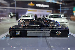 09 February 2017:  North American Car of the Year Trophy in Chevrolet display<br /> <br /> First staged in 1901, the Chicago Auto Show is the largest auto show in North America and has been held more times than any other auto exposition on the continent.  It has been  presented by the Chicago Automobile Trade Association (CATA) since 1935.  It is held at McCormick Place, Chicago Illinois<br /> #CAS17