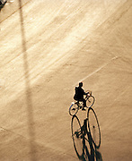 A local man on bicycle from top of Drum Tower, Beijing, China