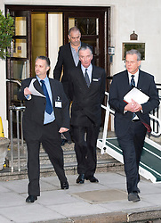 © London News Pictures. File picture dated 07/12/2012. John Lofthouse ( right) Chief Executive of the King Edward VII Hospital in London leaving the hospital with other hospital officialsto speak to media on December 07, 2012 following the suicide of nurse Jacintha Saldanha. Reports have today suggested that Jacintha Saldanha was critical of staff at the hospital in her suicide note.  Photo credit: Ben Cawthra/LNP