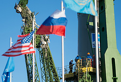 October 16, 2016 - Baikonur, Kazakhstan - Workers stand on the gantry around the Russian Soyuz MS-02 spacecraft at the Baikonur Cosmodrome in preparation for its Expedition 49 launch to the International Space Station October 16, 2016 in Baikonur, Kazakhstan. American astronaut Shane Kimbrough, Russian cosmonauts Sergey Ryzhikov and Andrey Borisenko are scheduled to launch aboard the spacecraft on October 19. (Credit Image: © Joel Kowsky/Planet Pix via ZUMA Wire)