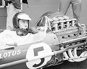 Jim Clark in his Lotus 49 Ford Cosworth DFV at the 1967 US Grand Prix at Watkins Glen; Photo by Pete Lyons 1967, Copyright © 2017 Pete Lyons; petelyons.com