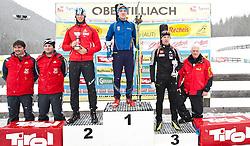 11.12.2010, Biathlonzentrum, Obertilliach, AUT, Biathlon Austriacup, Sprint Men, im Bild das Podium der Jugend II Männlich v.l.  v.l. Fabian Hörl (AUT, #36) 2. Platz, Ivan Moravskii (UKR, #57) 1. Platz und Yrii Hayoviy (UKR, #58) 3. Platz. EXPA Pictures © 2010, PhotoCredit: EXPA/ J. Groder