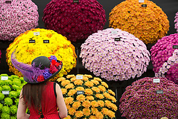 © Licensed to London News Pictures. 19/05/2014. London, England. A woman with a floral hat poses in front of a stand with chrysanthemums. Press Day at the RHS Chelsea Flower Show. On Tuesday, 20 May 2014 the flower show will open its doors to the public.  Photo credit: Bettina Strenske/LNP