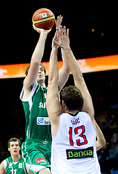 Erazem Lorbek of Slovenia vs Marc Gasol of Spain during basketball game between National basketball teams of Spain and Slovenia at Quarterfinals of FIBA Europe Eurobasket Lithuania 2011, on September 14, 2011, in Arena Zalgirio, Kaunas, Lithuania.  (Photo by Vid Ponikvar / Sportida)