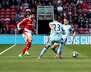 Antonio Barragan of Middlesbrough in action with Stephen Ward of Burnley during the Premier League match at the Riverside Stadium, Middlesbrough. Picture date: April 8th, 2017. Pic credit should read: Jamie Tyerman/Sportimage