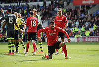 Football - 2013 / 2014 Premier League - Cardiff City vs. Stoke City<br /> Frazier Campbell of Cardiff City celebrates winning a penalty at the Cardiff City Stadium