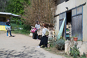 people keeping a social distance while waiting at a farmers home food market  during the Covid 19 crisis France April 2020