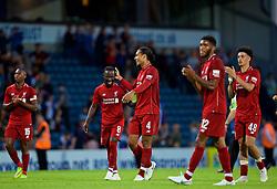 BLACKBURN, ENGLAND - Thursday, July 19, 2018: Liverpool's Virgil van Dijk (right) shares a joke with new signing Naby Keita during a preseason friendly match between Blackburn Rovers FC and Liverpool FC at Ewood Park. (Pic by David Rawcliffe/Propaganda)