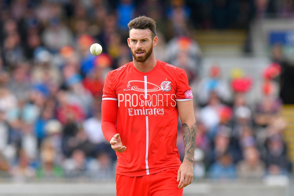 Jordan Clark of Lancashire during the Vitality T20 Finals Day Semi Final 2018 match between Worcestershire Rapids and Lancashire Lightning at Edgbaston, Birmingham, United Kingdom on 15 September 2018.